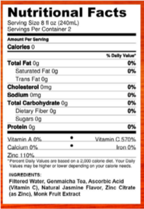 Nutritional information for Green Tea with Vitamin C and Zinc: Immuni-Tea