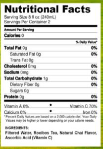 Nutrition Facts for Vitae Vitamin Tea's Integri-Tea. With Anti-oxidants and Vitamin C
